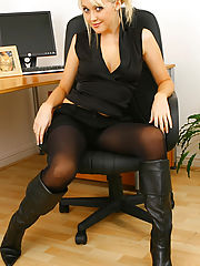 Sex Office, Sexy Blonde Lucy Anne would love to be your personal assistant. Right after she strips down to nothing but her pantyhose.