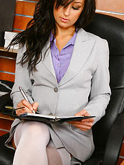 Big Tits at Work, Beautiful brunette secretary Laura A strips from her cute grey suit and purple shirt to give us a glimpse of her sexy white lingerie