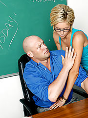 Office Babe, Victoria White sucks and fucks her professor so she can pass his class.