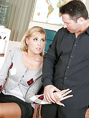 Cute blonde student Darcy Tyler studies her professor's cock