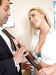 Blond with big tits begs for extra credit, and some cock.